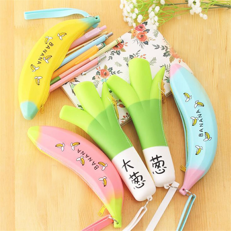 1PC 21*10cm Kawaii Banana & Green Onion Silicone Waterproof Pencil Case Stationery Bag Large Coin Purse School Office Supply(China (Mainland))