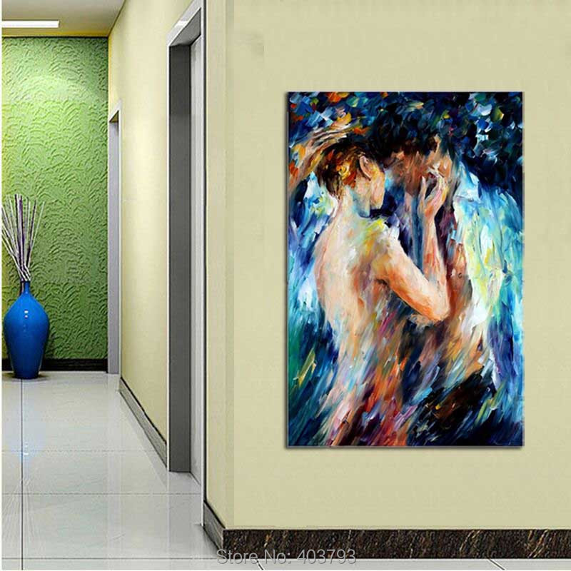 Buy Barocco Loved Couple Intimacy Nude Handmade Painting Abstract Body Art Palette Knife Oil Picture for Home Hotel Wall Decor cheap