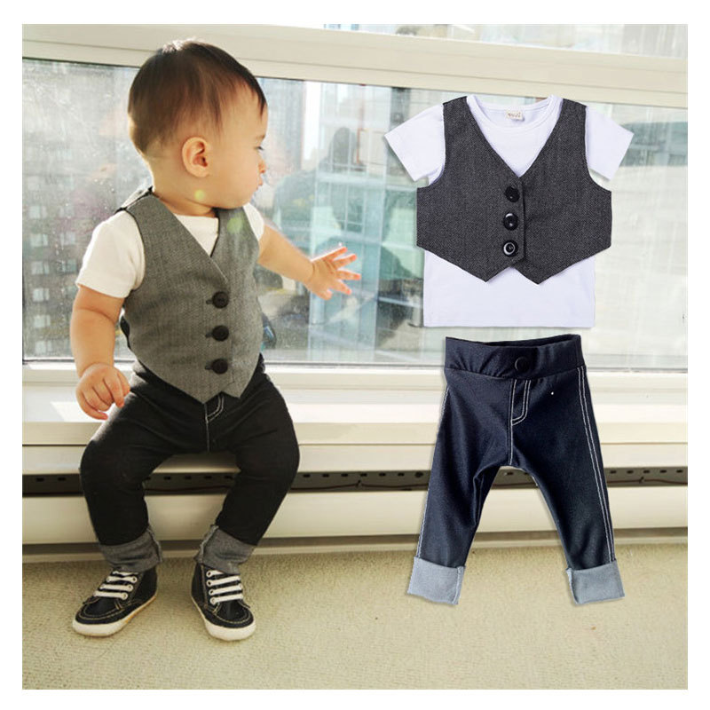 2015 Fashion Baby Boy Summer Clothes Suit Toddler Boys