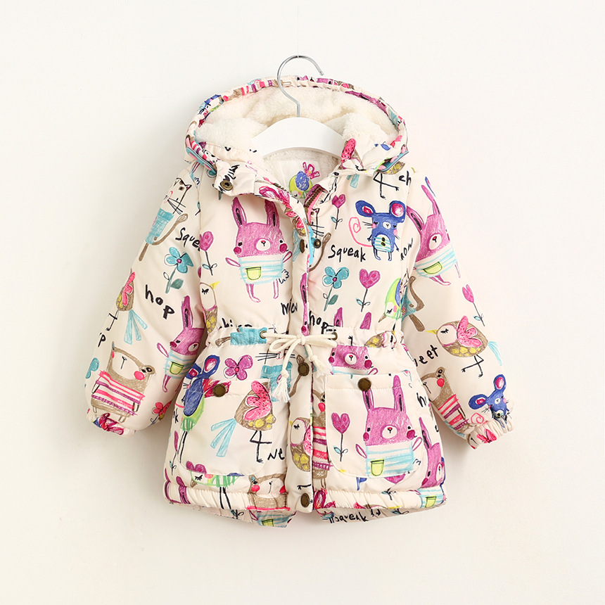New Winter children Jackets & Coats Girls Graffiti Parkas Hooded Baby Girl jacket Warm Outerwear Cartoon Animal Children coat(China (Mainland))