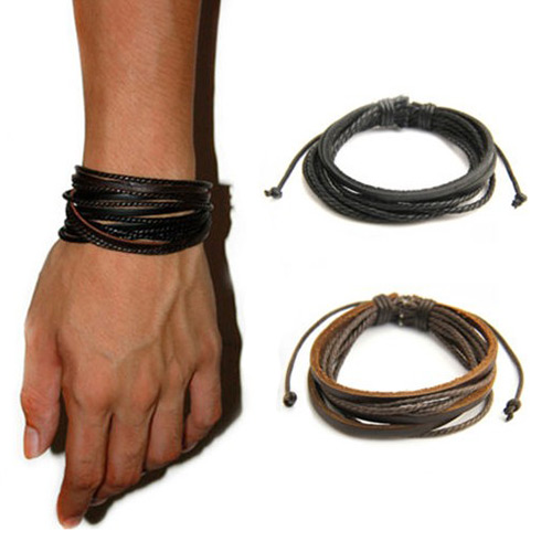 Fashion Adjustable Mens/Womens Cool Multilayer Genuine Leather Bracelet Braided rope Hot Jewerly 1pc Gift(China (Mainland))