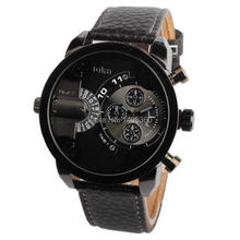 Oulm Leather Strap Sports Watch Stainless Steel Case Military Watches Analog New