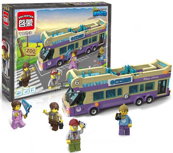 Enlighten 1123 City Sightseeing Bus Model Building Kits Minifigure Educational Toys For Kids Blocks Bricks Compatible With Legoe(China (Mainland))