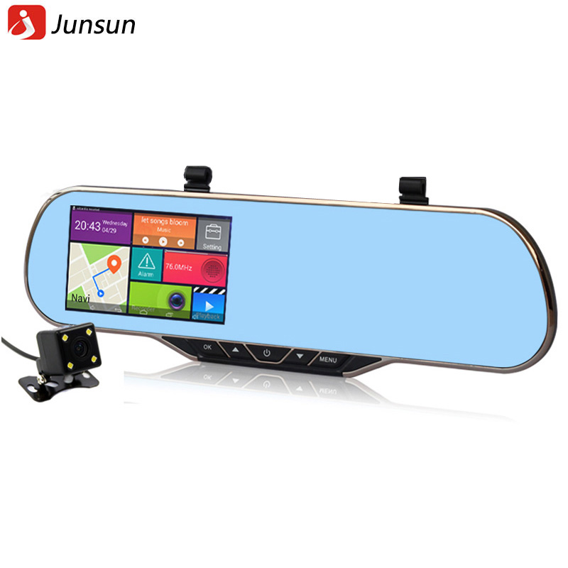 New 5 Inch HD Android 4.4.2 Rearview mirror Car GPS Navigation Car dvrs Dual Camera Rear view vehicle Europe or Navitel 9.5 map