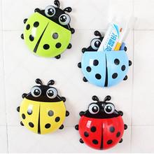 [4 colors] Cartoon Cute Ladybug  Sucker Toothbrush Holder suction Hooks / Household Items / toothbrush rack / bathroom sets(China (Mainland))
