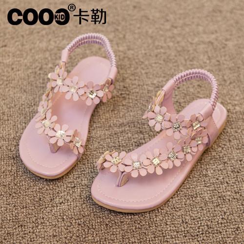 J.G Chen Retail Flip-flop Sandals Flip Girl's Shoes Flat Flats Bohemia Flower Beaded Soft Outsole Sweet Size 26-30 Girls - J Ghee Store store