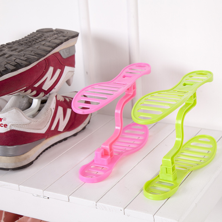 DIY Double-level Creative Shoe Slipper Stand Shelf Holder Home Save Place Candy Color Plastic Shoe Rack Shoes Organizer Storage(China (Mainland))