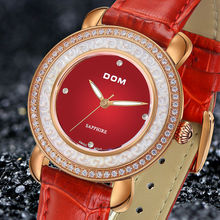 DOM women watches rhinestone crystal quartz watch leather belt fashion personality casual sports waterproof wristwatch.