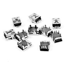 2015 Hot 10pcs Mini USB 5 Pin Female Socket DIY SMT Connector Silver Tone