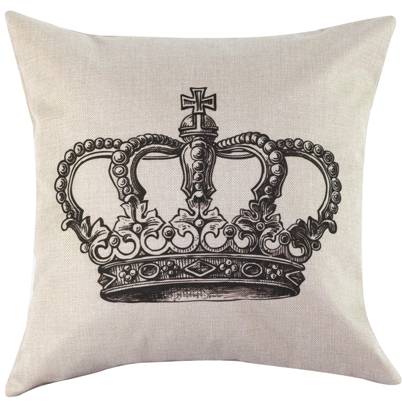 45 45cm Crown Cotton Linen Home Decor Throw Pillow Case