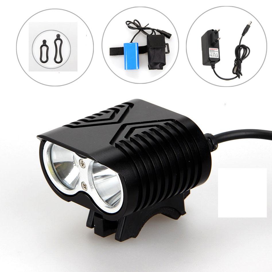 New farol bicicleta Bicycle Light 4000 Lumen 2x CREE XM-L U2 LED Bike Headlamp+8.4V 6400mah Battery Pack+ charger + headband(China (Mainland))