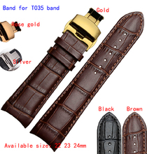 22mm 23mm 24mm Brown Alligator Pattern Genuine Leather Watch Bands Straps Bracelets Brushed Steel Butterfly Clasp For T035