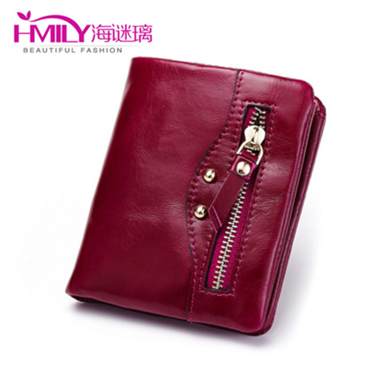 Fashion Natural Cowhide Purse For Ladies Short Card Holder Genuine Cow Leather Ladies Wallets With Zipper Pure Women Coin Purse(China (Mainland))
