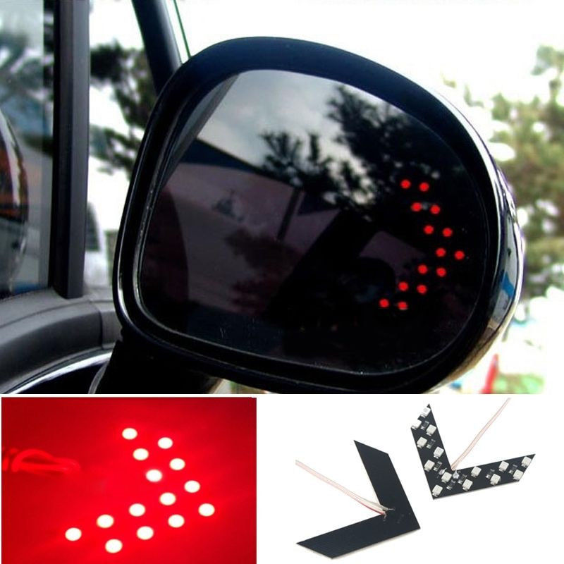 Car Rearview Mirror Hide Panel Red Arrow 14SMD LED Turn Signal Indicator Lights(China (Mainland))