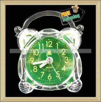 Free Shipping Wholesale,Table Clock/Brand New Unique Crystal Plastic Desk Alarm Clock,10pcs/lot-JE022