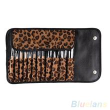 12 PCS Pro Makeup Brush Set Cosmetic Tool Leopard Bag Beauty Brushes 1L2J