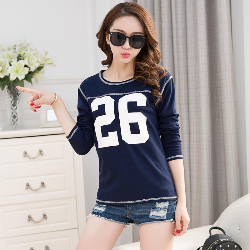 Fashion Print Korean New Women T-shirt Stitching Loose Long Sleeve Casual O-neck T Shirt Women Tee Shirt Femme 2016(China (Mainland))