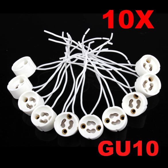 Гаджет  10Pcs GU10 Socket Holder Ceramic Bulb Halogen Lamp Wire Connector Holder Base PTSP None Свет и освещение