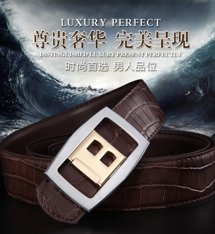 Direct marketing in 2015 with new fashion men to hot selling leather buckle brand leather belt bags/take/letter mail(China (Mainland))