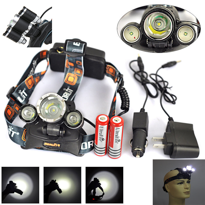 3T6 6000 lumens headlamp +2*18650 5800 mah battery +Charger + Car chargr 3x CREE XM-L XML T6 LED Headlight Light Head lamp(China (Mainland))