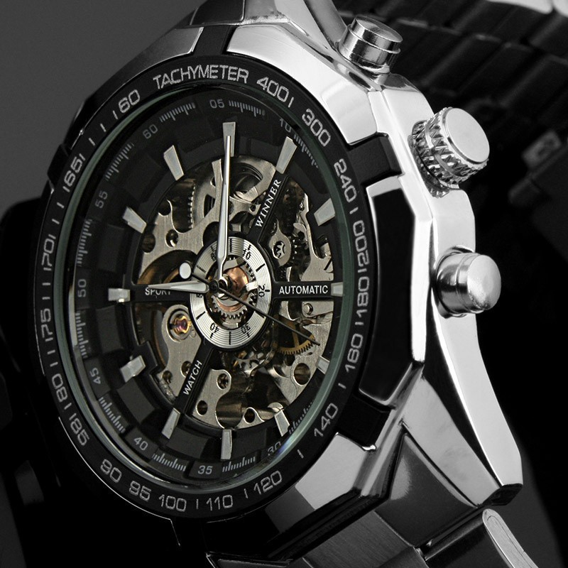 Hot Sale men Wristwatches brand stylish design classic Stainless Steel Skeleton Mechanical Watch Fashion Cross Wristwatch(China (Mainland))