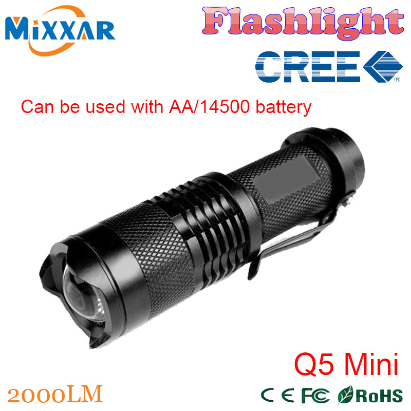 ZK92 2000LM Q5 Mini CREE Black 3 Modes Zoomable Waterproof LED Flashlight LED Torch penlight Free Shipping(China (Mainland))