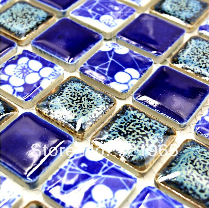 Blue porcelain mosaic wall tiles backsplash PCMT094 ceramic mosaic swimming pool tiles bathroom floor tile porcelain mosaics<br><br>Aliexpress