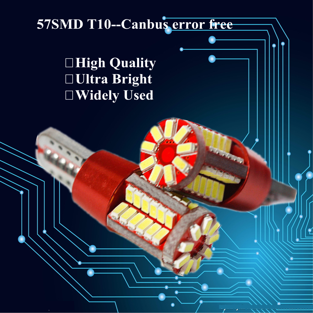 10pcs T10 W5W LED Bulb Light Canbus Error Free 57 LEDs Car Accessory Circuit board Warning Canceller LED Marker Clearance Lights(China (Mainland))