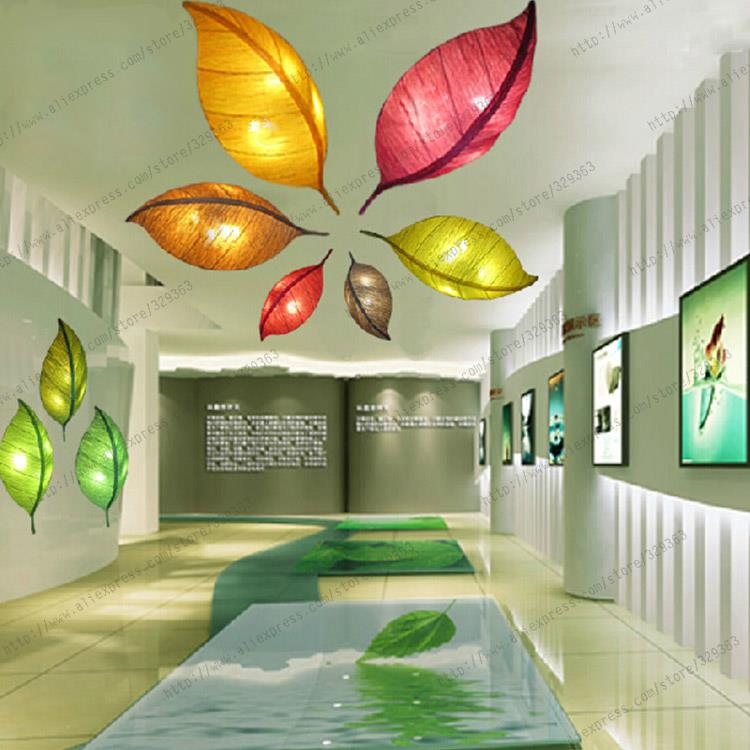 freeshipping 2015 new design leaf shape lamp china style handmade fabrics cloth art ceiling light customizable hotsale give led(China (Mainland))