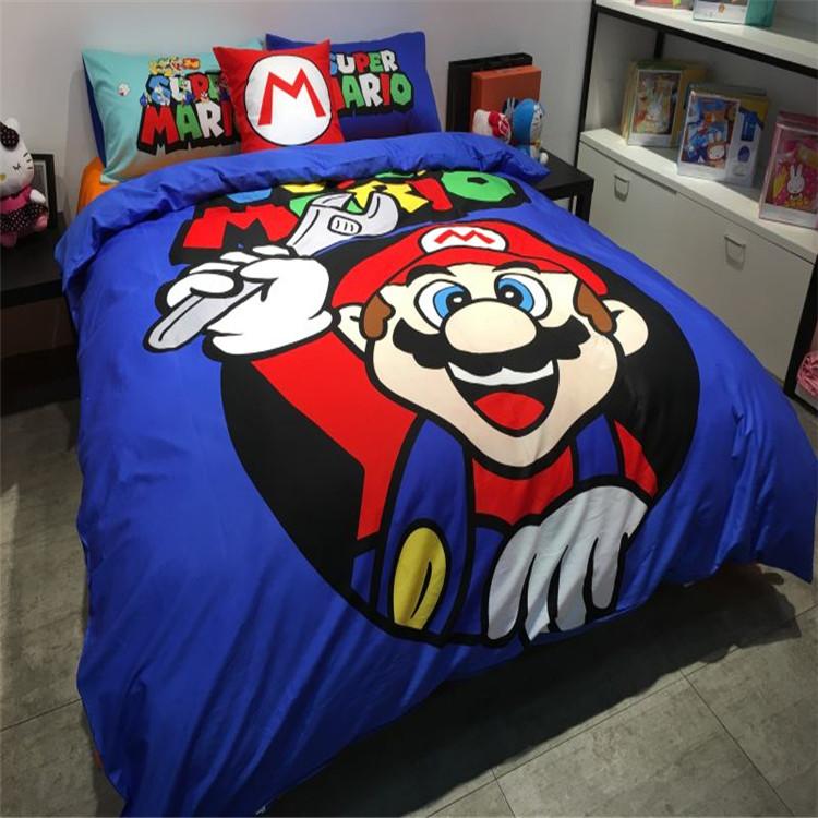 Envío gratis a través de ups! los niños de dibujos animados Super Mario juego de cama sin el relleno individual / doble / full / queen size(China (Mainland))