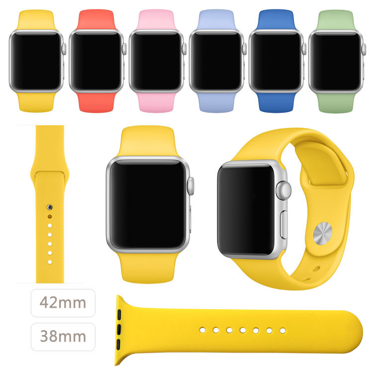 2016 New Yellow Silicone Sport Strap for Apple Watch Band Silicone Band With Connector Adapter 42mm 38mm(China (Mainland))