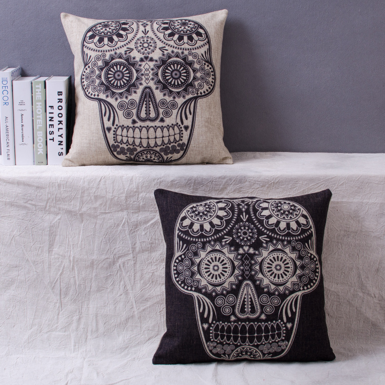 Almofada Mexican black white skull Printed Cojine Case Linen Decorative Throw Pillows For Sofa Home Decor Diamond Cushion Cover(China (Mainland))
