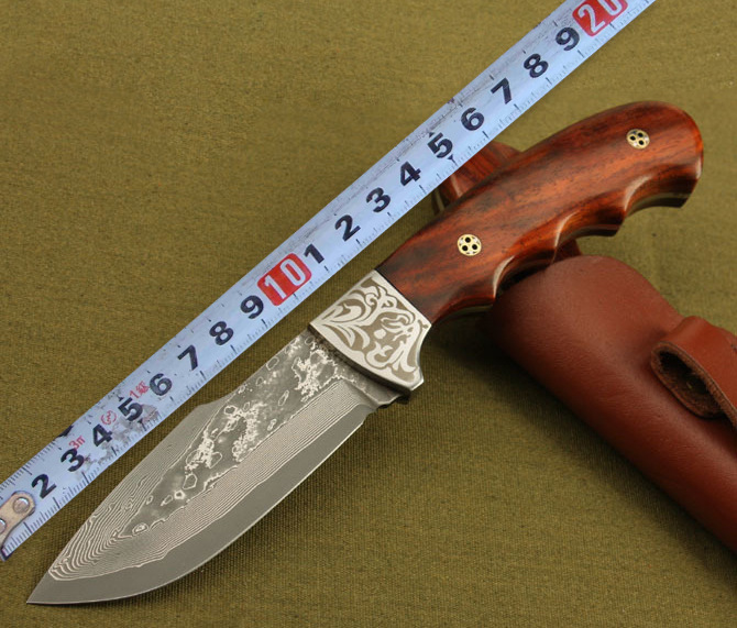Buy Handmade Forged Damascus Steel Tactical Hunting Knife Fixed Blade 58HRC Red Sandalwood Handle Collection Gift Outdoor Survival cheap