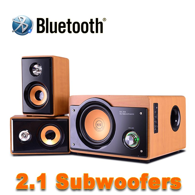 2017 New Hi-Fi 5 Inch Subwoofer Audio System Bluetooth Wooden Subwoofer Support TF Card And USB Audio Playback And FM Radio