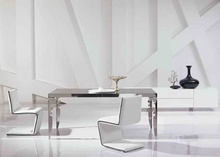 modern new stainless steel dining room set with glass table, leather chairs(1+4 chairs)