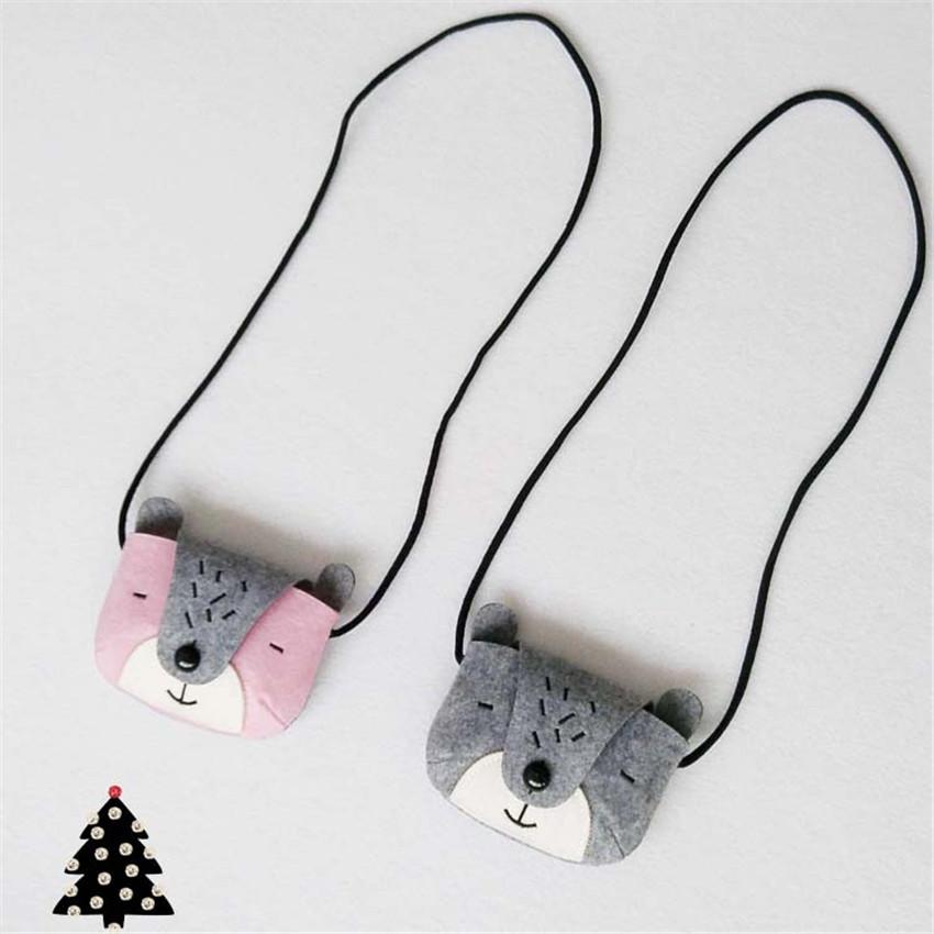 JC KIDS Gray & Pink Girls Bear Coin Purse Handmade Baby Small Bag Kids Messenger Bag Cute Small Bag(China (Mainland))