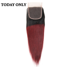 "Buy Today Non-remy Ombre Burgundy Brazilian Straight Hair Lace Closure 8"" 20"" Two Tone 1b/99j Swiss Lace Human Hair Closure for $34.82 in AliExpress store"