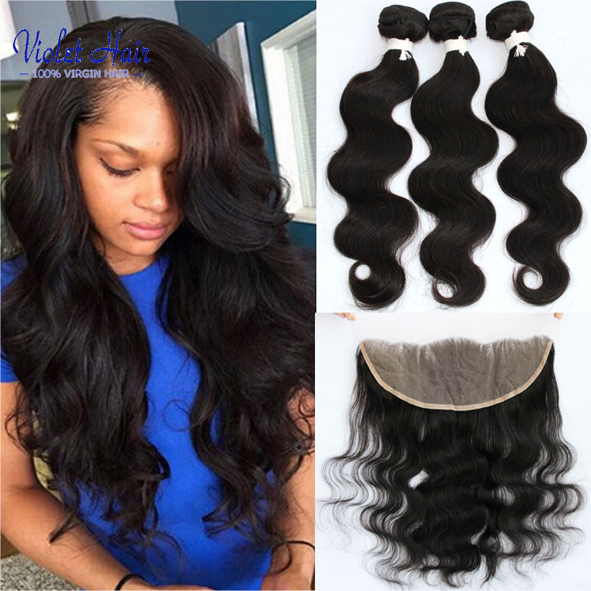Malaysian human hair bundles with ear to ear closure 13x4 Malaysian lace frontals with baby hair Malaysian body wave hair bundle<br><br>Aliexpress