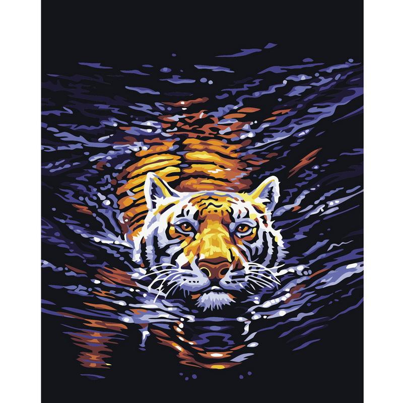 Handpainted 1Set DIY Digital Oil Painting Tiger Frameless Canvas Home Wall Decor New Arrival Modern Art(China (Mainland))