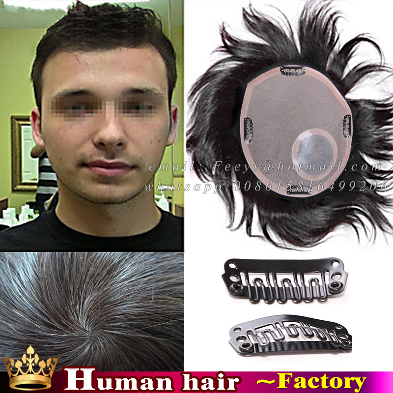 100% human real hair toppers 16*18/18*20/22*22 hair replacement silicone men toupe skin mono lace toupee mens skin hairpiece wig