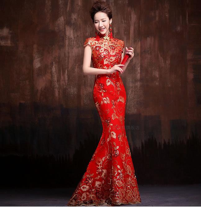 mariée de mariage marié Qipao Style chinois robe de soirée rouge ...