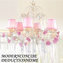 6head Rustic Pink Rose flowers white chandeliers light,6bulbs fabric lamp cover Girl bedroom wrought iron crystal pendant lamp(China (Mainland))