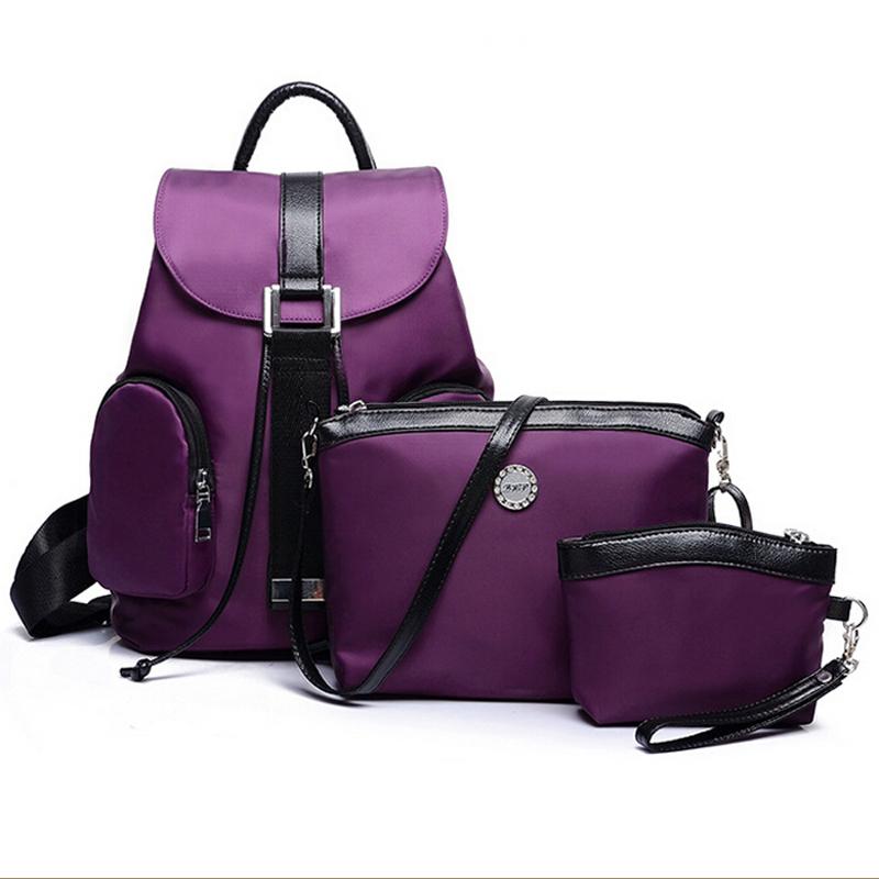 Casual women nylon backpacks 3 bags in a set women shoulder bags school backpacks for girls rucksack mochila feminina  BP51030C<br><br>Aliexpress
