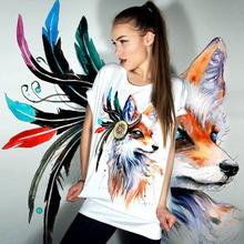 Buy Harajuku 2017 Summer Tee Shirt Women Tops Short Sleeve O-Neck Fox Print Casual Tshirt Plus Size Punk Rock T-Shirt Female White for $6.38 in AliExpress store