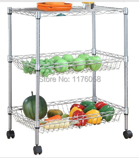 Fashionable 3 and layers powder coating storage racks,home furniture,kitchen racks,wire shelving,kitchen basket cart(China (Mainland))