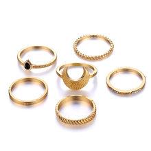 Ретро мода кольцо 6 шт./компл. кольцо Дамы Европа и Америка ветер полосатый Луна падение форма мода кольцо набор(China)