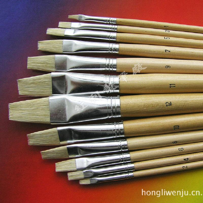 Wholesale 12pcs lot nylon wooden handle paint brush set for Wholesale craft paint brushes