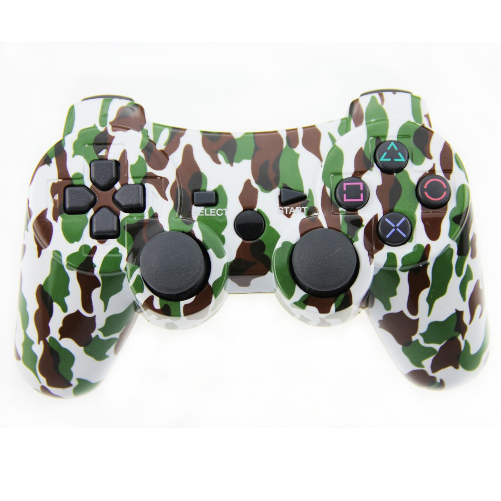 Camouflage Style Wireless Controller Double Vibration Joystick Bluetooth Gamepad Joypad For Playstation 3 PS3 (Light Green)(China (Mainland))