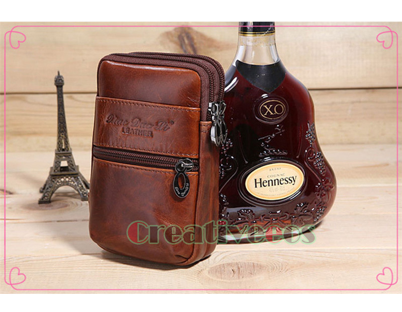 2016 New Men Oil Wax Genuine Leather Vintage Travel Cell/Mobile Phone Cover Case Belt Hip Bum Pouch Purse Fanny Pack Waist Bag(China (Mainland))