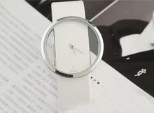 New arrivla Women Leather Transparent Dial Succinct Sport Quartz Watch Gift Wristwatch For Women Men